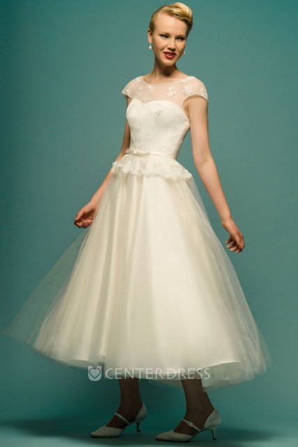 5a4e3d21c02 A-Line Tea-Length Appliqued Scoop Neck Cap Sleeve Tulle Wedding Dress -  UCenter Dress