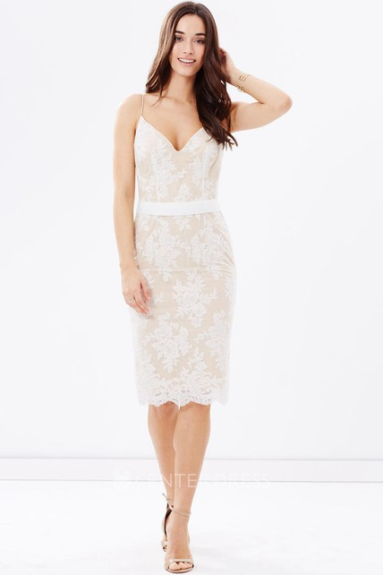 Knee-Length Sleeveless Spaghetti Ribboned Lace Bridesmaid Dress With Low-V Back