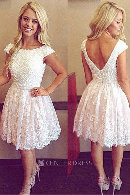 e0c7b2dc730b8 A-line Short Mini Short Sleeve Bateau Beading Pleats Lace Homecoming Dress  - UCenter Dress