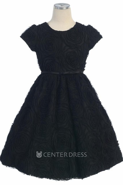 3baf732b6e Floral Tea-Length Cap-Sleeve Bowed Flower Girl Dress With Embroidery - UCenter  Dress