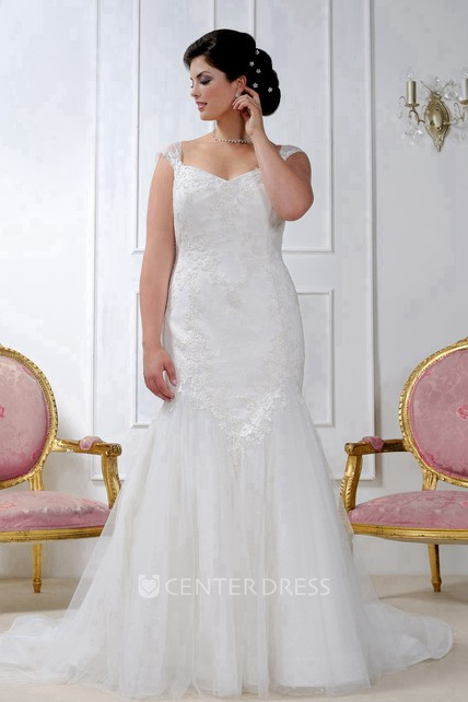 4e44d3142b8 Caped-Sleeve Mermaid Lace Dress With Corset Back - UCenter Dress