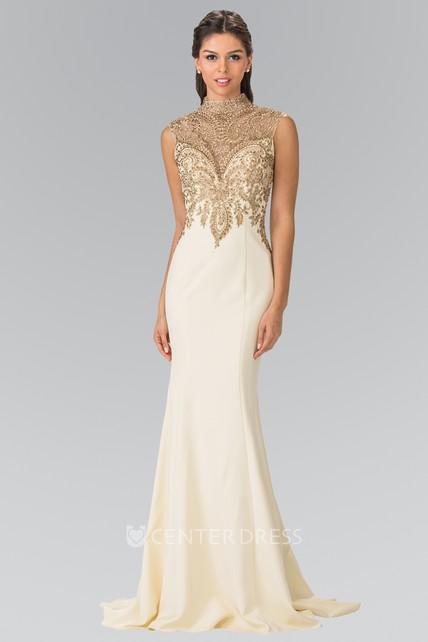 b813f539fd5 Sheath Long High Neck Sleeveless Jersey Illusion Dress With Beading - UCenter  Dress