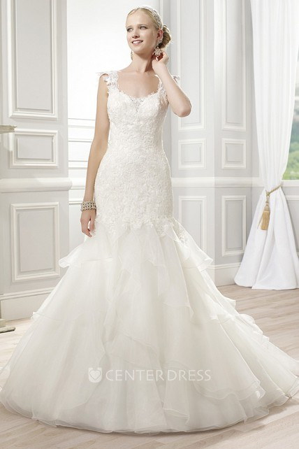 d37cc15bbdd A-Line Floor-Length Sleeveless Appliqued Lace Organza Wedding Dress With  Ruffles And Deep-V Back - UCenter Dress