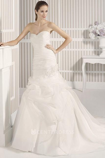 Mermaid Sweetheart Organza Wedding Dress With Criss Cross And Pick ...