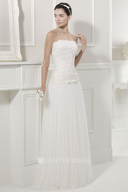 Scalloped Neck Lace Top Tulle Bridal Gown With Off Shoulder Half Sleeves