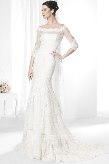 25b2ee099e59 Sheath Tiered Bateau-Neck Half-Sleeve Lace Wedding Dress With Illusion - UCenter  Dress