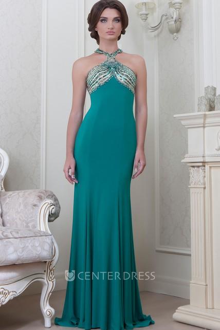 cd2e732991 Sheath Beaded Sleeveless Haltered Long Jersey Evening Dress With Pleats -  UCenter Dress