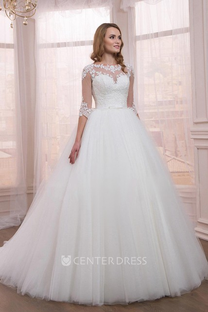 b3190be35c2a4 Half Sleeve Tulle Ball Gown Dress With Appliques - UCenter Dress