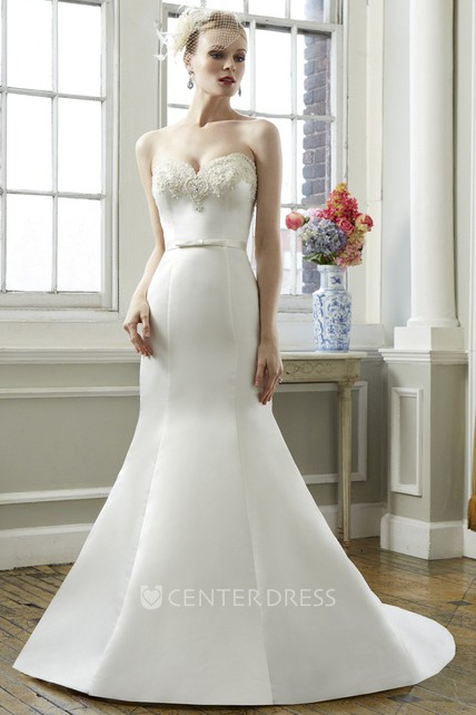 Trumpet Sweetheart Long Satin Wedding Dress With Beading - UCenter Dress