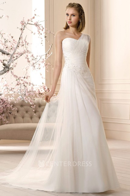 653979a4a Sleeveless Long One-Shoulder Ruched Tulle Wedding Dress With Appliques -  UCenter Dress