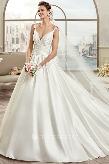 V neck a line open back bridal gown with cinched waistband for Cinched waist wedding dress