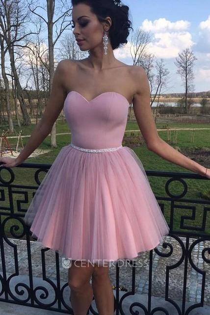 8329565aa4115 A-line Short Mini Sleeveless Sweetheart Beading Pleats Satin Tulle Homecoming  Dress - UCenter Dress