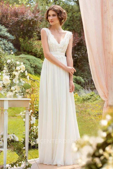 751271639d29 Plunged Sleeveless Chiffon Pleated Wedding Dress With Lace And Bow -  UCenter Dress
