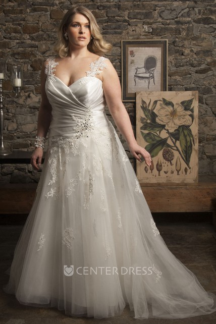 3e7f3830ca Lace Strapped Tulle A-Line Gown With Corset Back - UCenter Dress