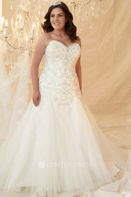 A Line Sweetheart Tulle Plus Size Wedding Dress With Crystal