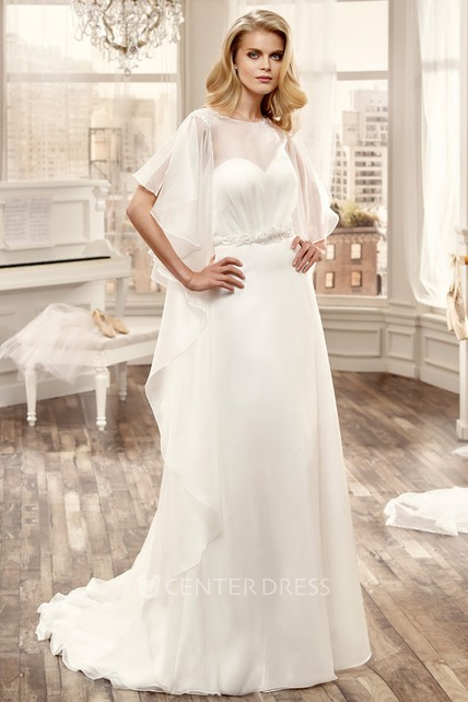 99bfd4e0675 Ruching Chiffon Wedding Dress With Open Back And Brush Train - UCenter Dress