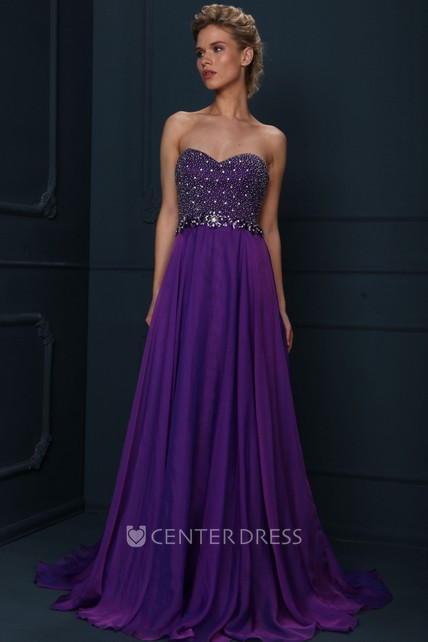 e06bee8b51 A-Line Sleeveless Floor-Length Sweetheart Beaded Jersey Evening Dress With  Pleats - UCenter Dress
