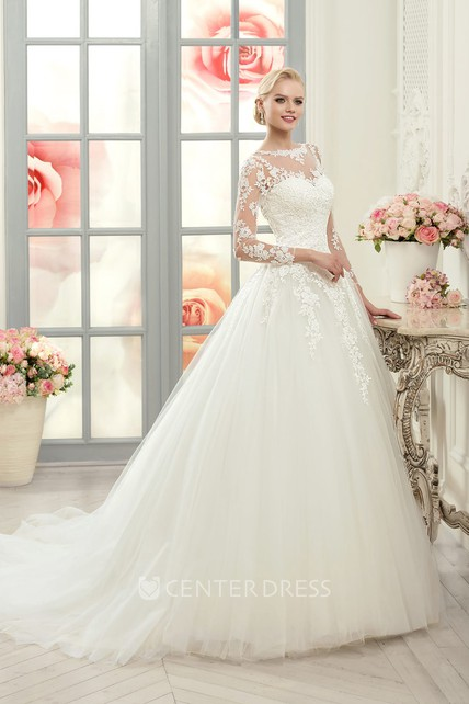 382806b1 Ball Gown Floor-Length Bateau Long-Sleeve Illusion Tulle Lace Dress With  Appliques - UCenter Dress