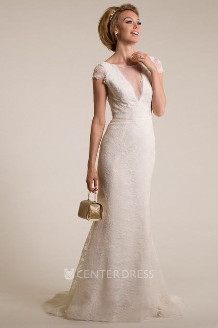 8710346b6a90 Sheath Scoop-Neck Cap-Sleeve Lace Wedding Dress With Illusion ...