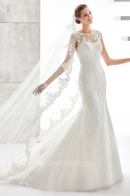 d90d413491e3 Jewel-Neck Cap-Sleeve Mermaid Wedding Dress With Illusive Design And  Appliques - UCenter Dress