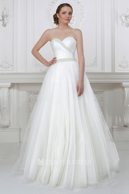 fc37cc16db37c A-Line Maxi Sweetheart Criss-Cross Sleeveless Tulle Wedding Dress With  Beading And Pleats - UCenter Dress