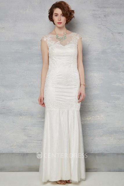 9d2d30df6389 Sheath Cap-Sleeve Scoop-Neck Lace Wedding Dress With Illusion - UCenter  Dress
