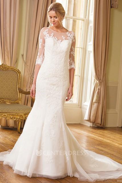 2e621e6ae6641 Mermaid Half Sleeve Appliqued Scoop Neck Tulle Wedding Dress - UCenter Dress