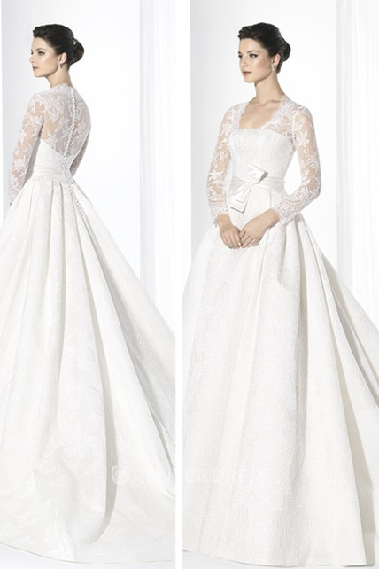 Ball Gown Square-Neck Floor-Length Long-Sleeve Lace Wedding Dress ...