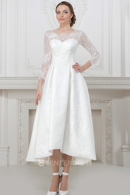 A line long sleeve high low scoop neck lace wedding dress for Mature second wedding dresses