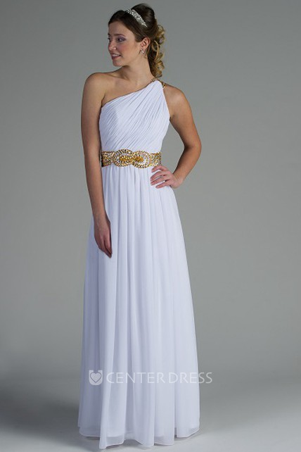 12e4799fd669 One Shoulder Pleated Chiffon Long Bridesmaid Dress With Crystal Belt - UCenter  Dress