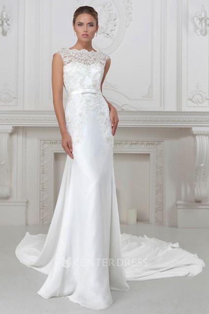 8596d5c20d29 Sheath Cap-Sleeve Bateau-Neck Appliqued Long Satin Wedding Dress - UCenter  Dress
