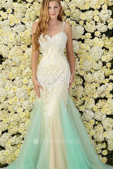 1cc94ea8cd Muti-Color Mermaid Long Spaghetti Sleeveless Tulle Jersey Dress With Beading  - UCenter Dress
