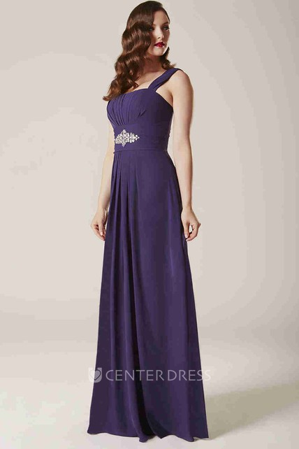 07f7cd7d087 Strapped Sleeveless Ruched Chiffon Bridesmaid Dress With Waist Jewellery - UCenter  Dress