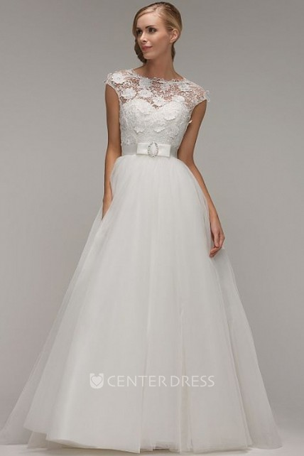 db48307f8635 A-Line Scoop-Neck Cap-Sleeve Maxi Tulle Wedding Dress With Appliques And  Illusion - UCenter Dress