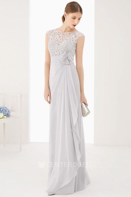 fac7ae3f12 Lace Top Cap Sleeve Side Drape Chiffon Long Dress With Waist Flower -  UCenter Dress