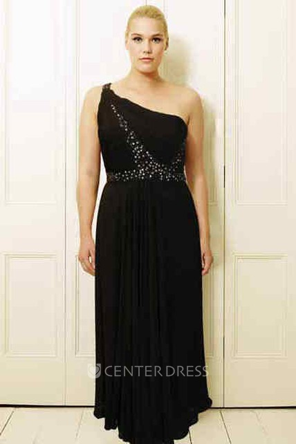 d2a8d4b7fe0 Beaded One-Shoulder Long Sleeveless Chiffon Plus Size Prom Dress With Pleats  - UCenter Dress