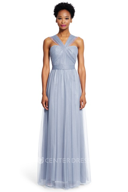 beb0bc58e30 A-Line Strapped Maxi Sleeveless Ruched Tulle Bridesmaid Dress With Sash - UCenter  Dress