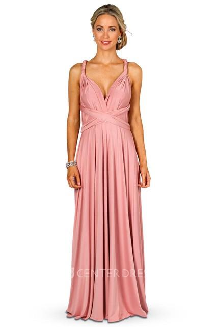 9e60a9eab18 Maxi Sleeveless Strapped Satin Chiffon Convertible Bridesmaid Dress With  Ruching - UCenter Dress
