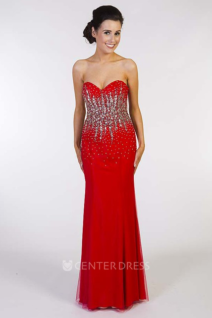 625bea80845 Sheath Sleeveless Sweetheart Long Crystal Jersey Prom Dress With Corset Back  - UCenter Dress