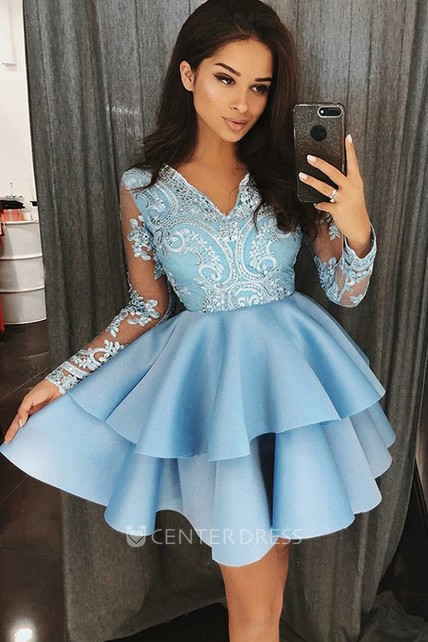 f48d613212f54 A-line Short Mini Long Sleeve V-neck Beading Lace Ruffles Tiers Satin Lace  Homecoming Dress - UCenter Dress