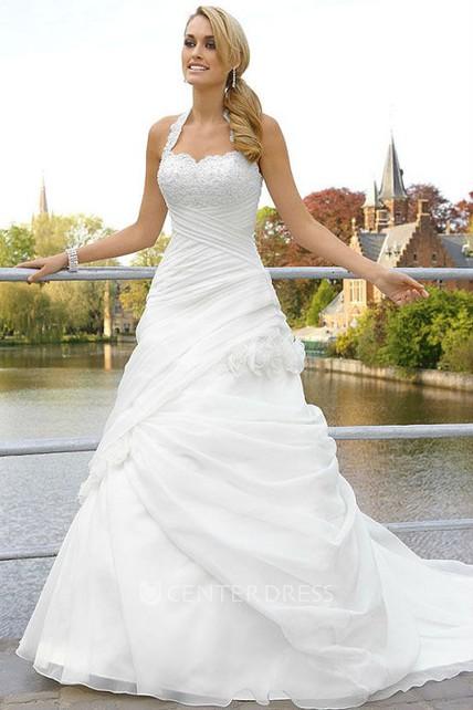 A-Line Floor-Length Sleeveless Halter Tulle Wedding Dress With Pick ...