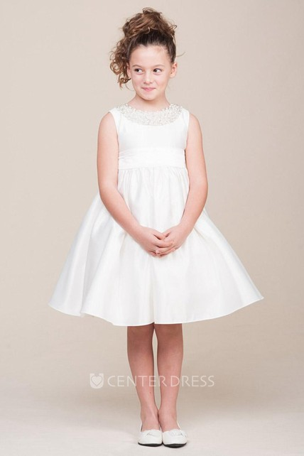 e8fa6e56093 Jewel Tea-Length Pleated Tiered Satin Flower Girl Dress With Sash - UCenter  Dress