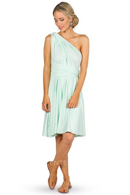 e6b10d37b20 Knee-Length Ruched Sleeveless One-Shoulder Chiffon Convertible Bridesmaid  Dress With Straps - UCenter Dress