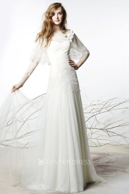d674088c7 Sheath Floor-Length Bateau Floral Long-Sleeve Tulle Wedding Dress With  Illusion Back And Lace - UCenter Dress