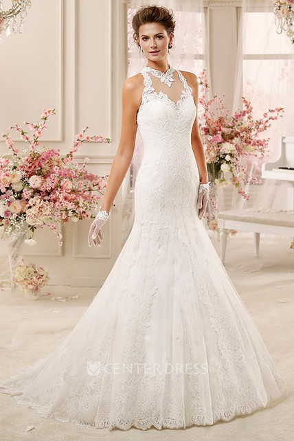 High-Neck Mermaid Lace Wedding Dress With Illusive Lace Neck And ...