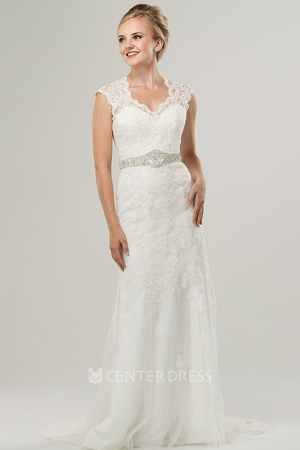 Sheath VNeck Appliqued CapSleeve Long LaceTulle Wedding Dress