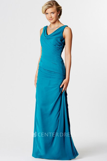0470b0c6705 Floor-Length Sleeveless Ruched Cowl Neck Chiffon Bridesmaid Dress - UCenter  Dress