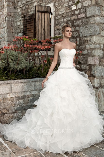 4485d526ddacd Sleeveless Ruffled A-line Organza Wedding Dress With Ruching - UCenter Dress