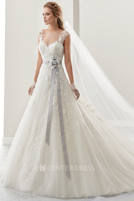 27bc05ee5b65 Cap sleeve Lace Bridal Gown with Flower Satin Sash and Open Back - UCenter  Dress