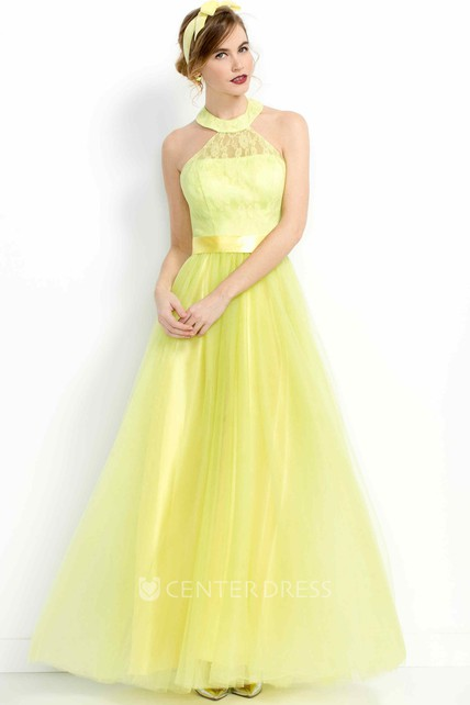 a889e368e2a A-Line Long High-Neck Sleeveless Tulle Prom Dress - UCenter Dress